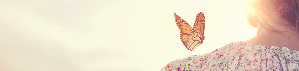 Lady with butterfly on shoulder
